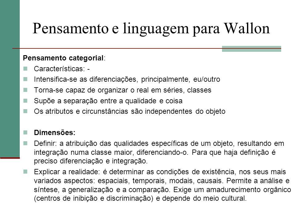 Pensamento e linguagem para Wallon
