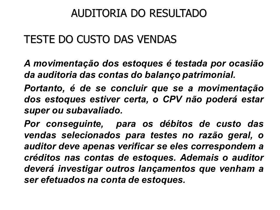 TESTE DO CUSTO DAS VENDAS