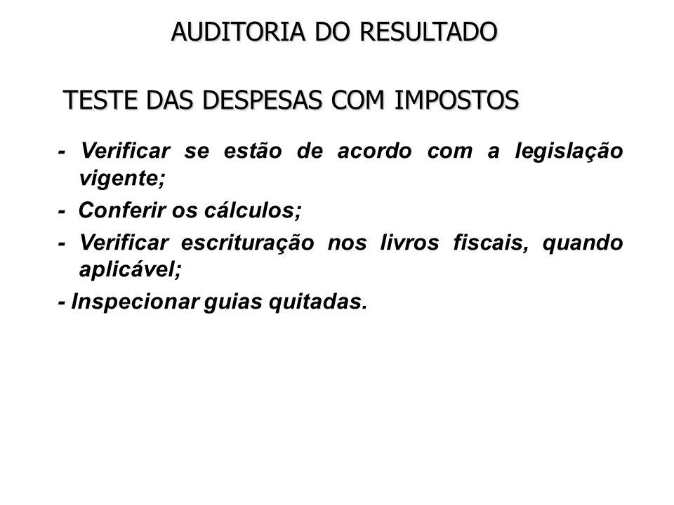 TESTE DAS DESPESAS COM IMPOSTOS