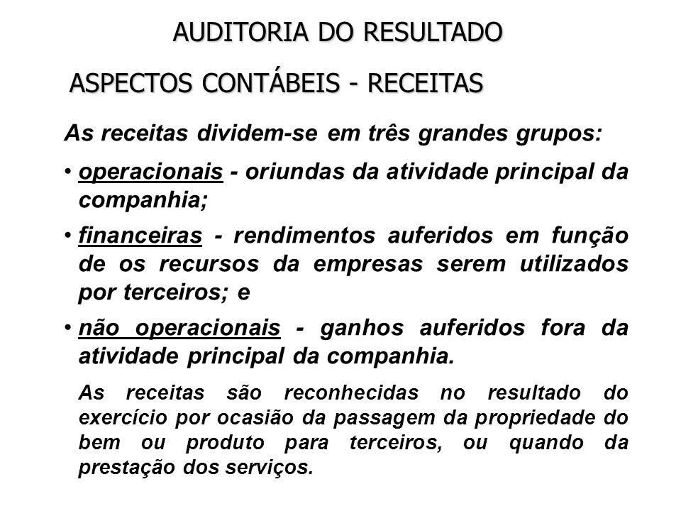 ASPECTOS CONTÁBEIS - RECEITAS