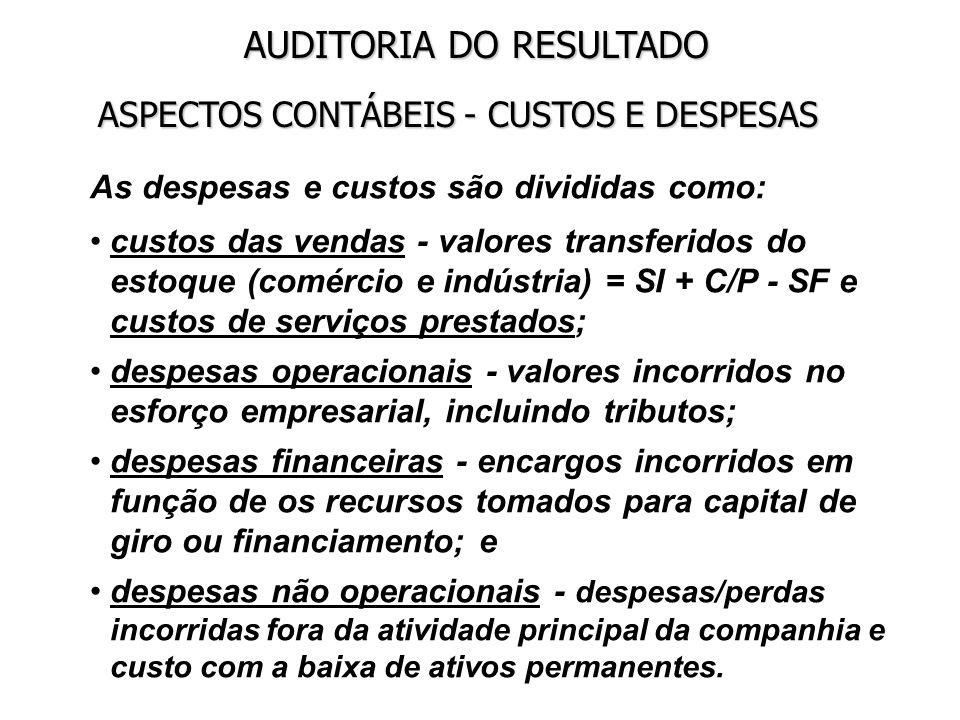 ASPECTOS CONTÁBEIS - CUSTOS E DESPESAS