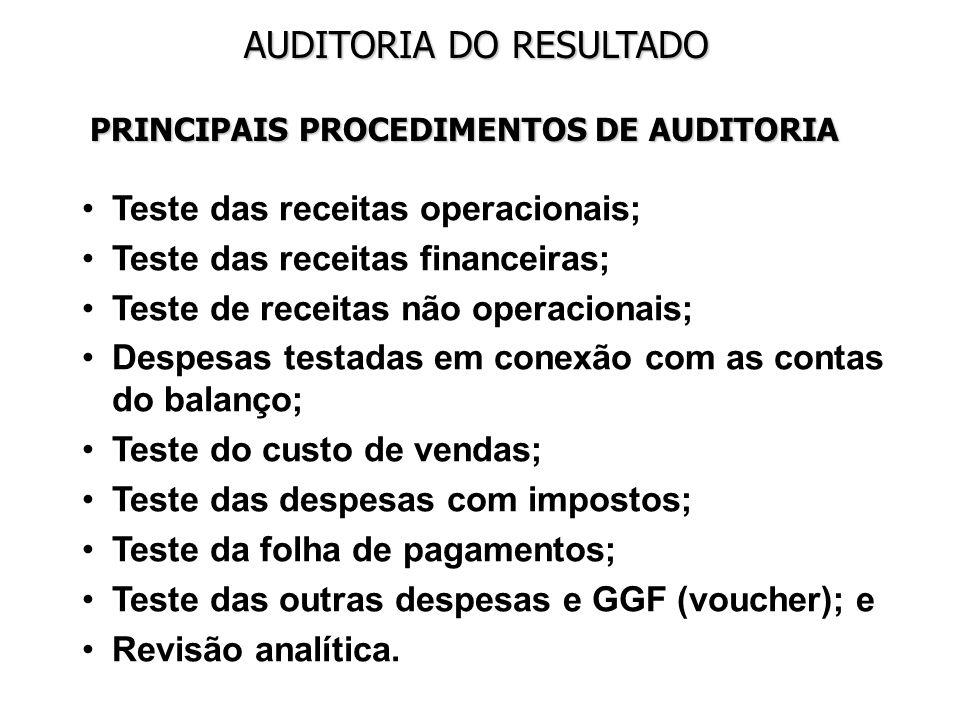 Teste das receitas operacionais; Teste das receitas financeiras;