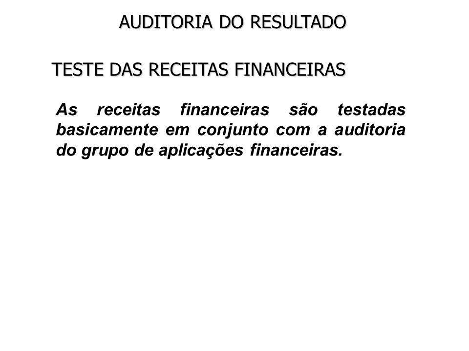 TESTE DAS RECEITAS FINANCEIRAS