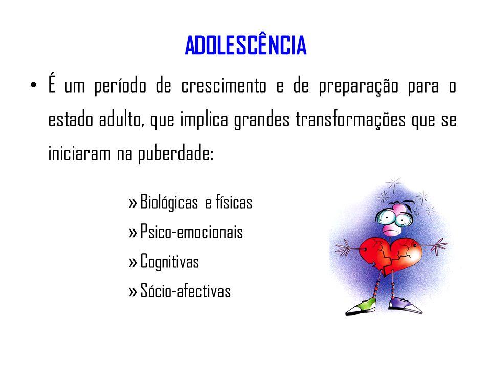 ADOLESCÊNCIAÉ um período de crescimento e de preparação para o estado adulto, que implica grandes transformações que se iniciaram na puberdade: