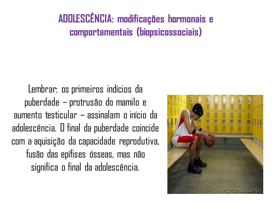 ADOLESCÊNCIA: modificações hormonais e comportamentais (biopsicossociais)
