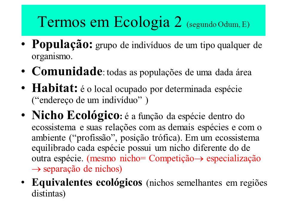 Termos em Ecologia 2 (segundo Odum, E)
