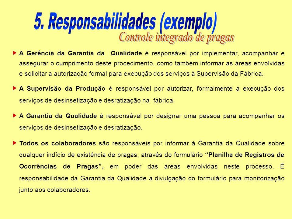 5. Responsabilidades (exemplo) Controle integrado de pragas