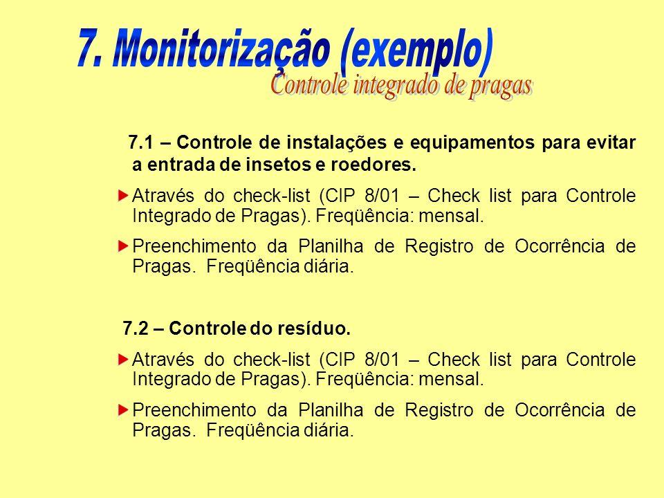 7. Monitorização (exemplo) Controle integrado de pragas