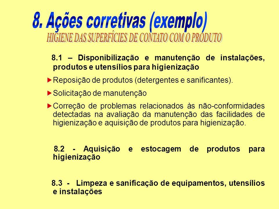 8. Ações corretivas (exemplo)