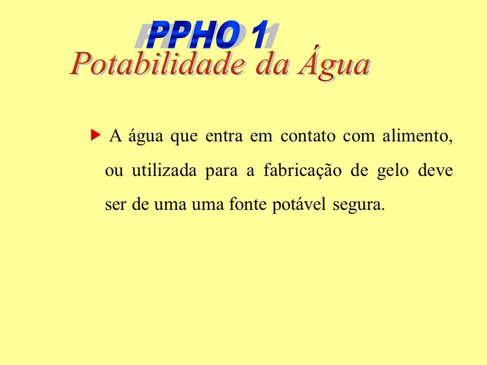 PPHO 1 PPHO 1 Potabilidade da Água