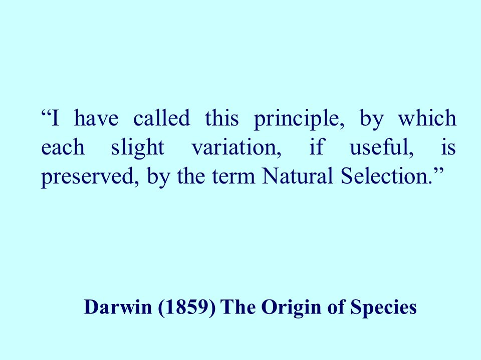 Darwin (1859) The Origin of Species