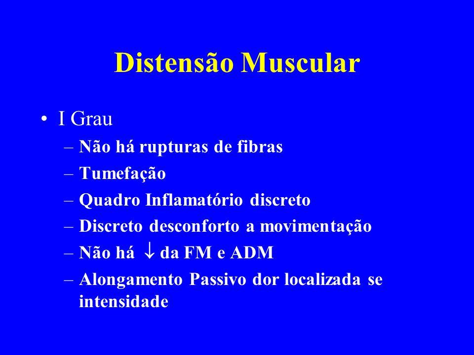 Distensão Muscular I Grau Não há rupturas de fibras Tumefação