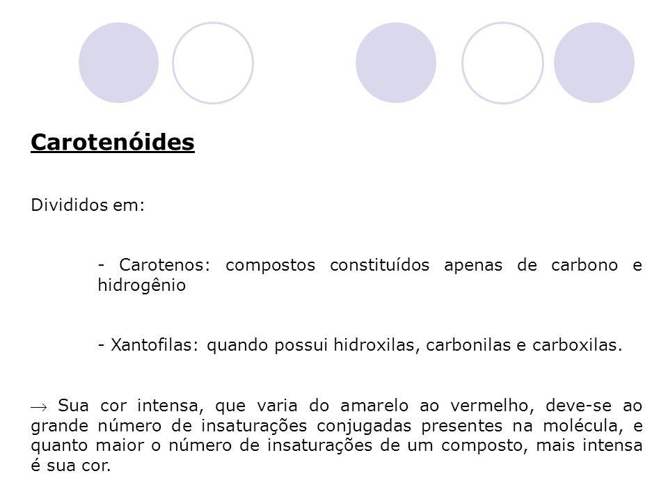 Carotenóides Divididos em: