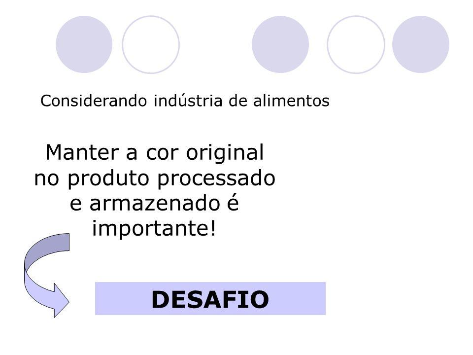 Manter a cor original no produto processado e armazenado é importante!