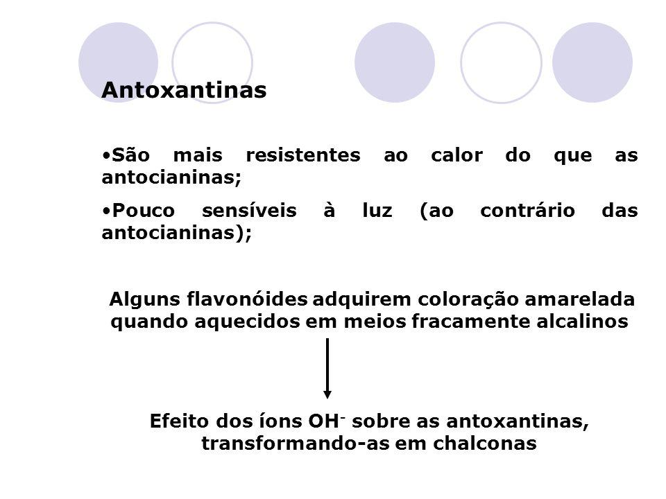 Antoxantinas São mais resistentes ao calor do que as antocianinas;
