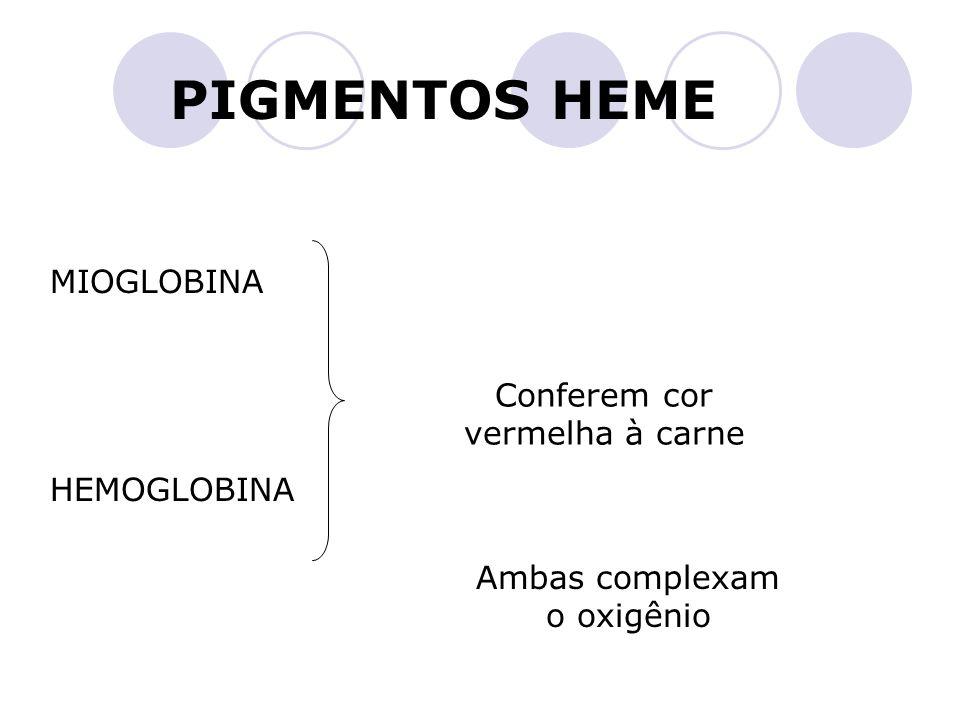 PIGMENTOS HEME MIOGLOBINA Conferem cor vermelha à carne HEMOGLOBINA