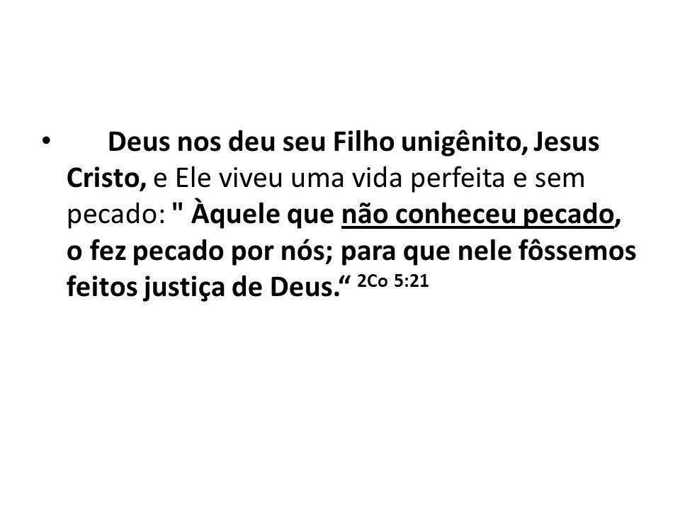 Deus nos deu seu Filho unigênito, Jesus Cristo, e Ele viveu uma vida perfeita e sem pecado: Àquele que não conheceu pecado, o fez pecado por nós; para que nele fôssemos feitos justiça de Deus. 2Co 5:21