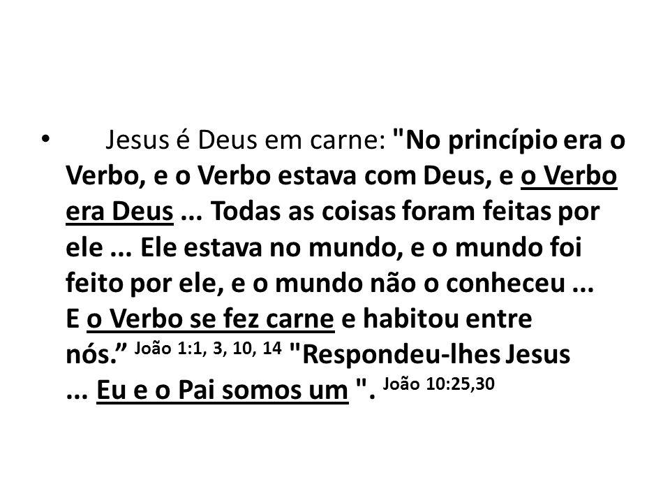 Jesus é Deus em carne: No princípio era o Verbo, e o Verbo estava com Deus, e o Verbo era Deus ...