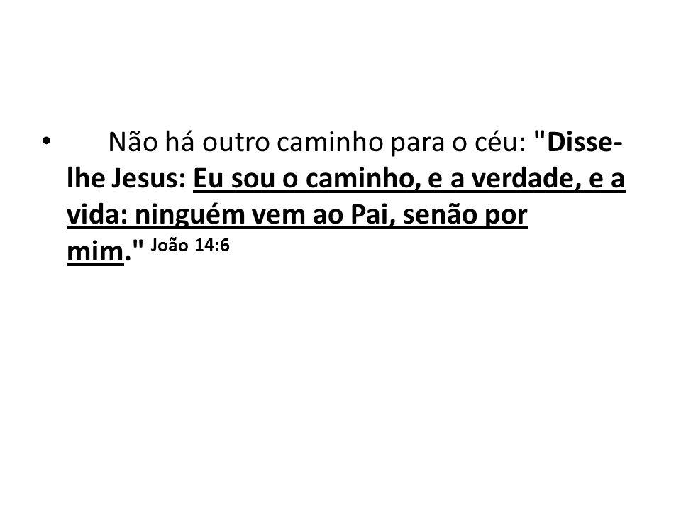 Não há outro caminho para o céu: Disse-lhe Jesus: Eu sou o caminho, e a verdade, e a vida: ninguém vem ao Pai, senão por mim. João 14:6