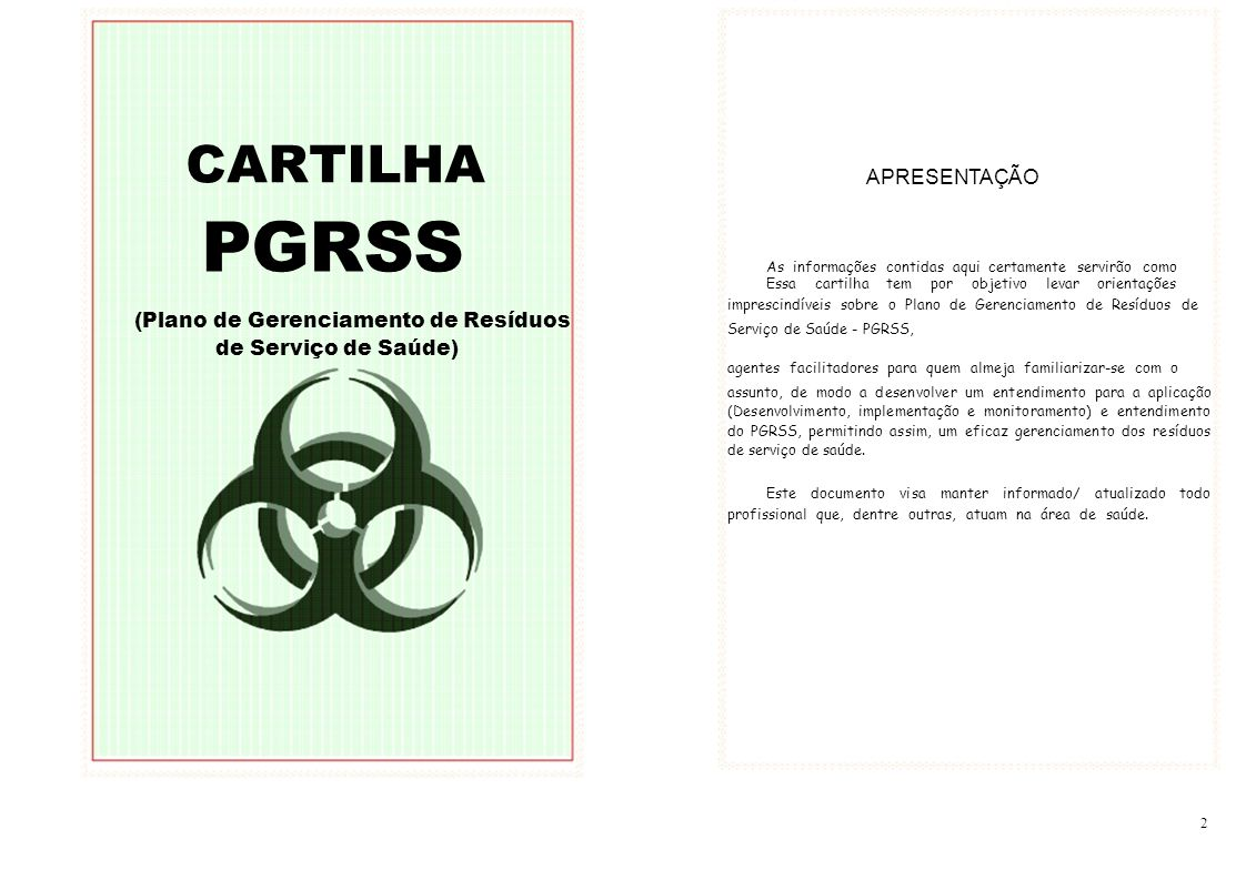 PGRSS CARTILHA APRESENTAÇÃO (Plano de Gerenciamento de Resíduos
