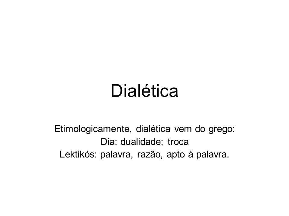 Dialética Etimologicamente, dialética vem do grego: