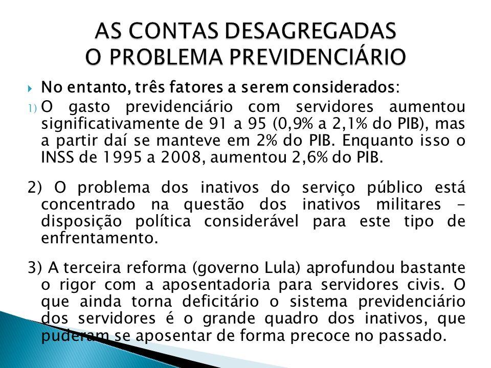 AS CONTAS DESAGREGADAS O PROBLEMA PREVIDENCIÁRIO