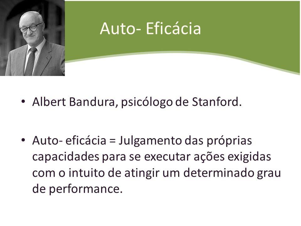 Auto- Eficácia Albert Bandura, psicólogo de Stanford.