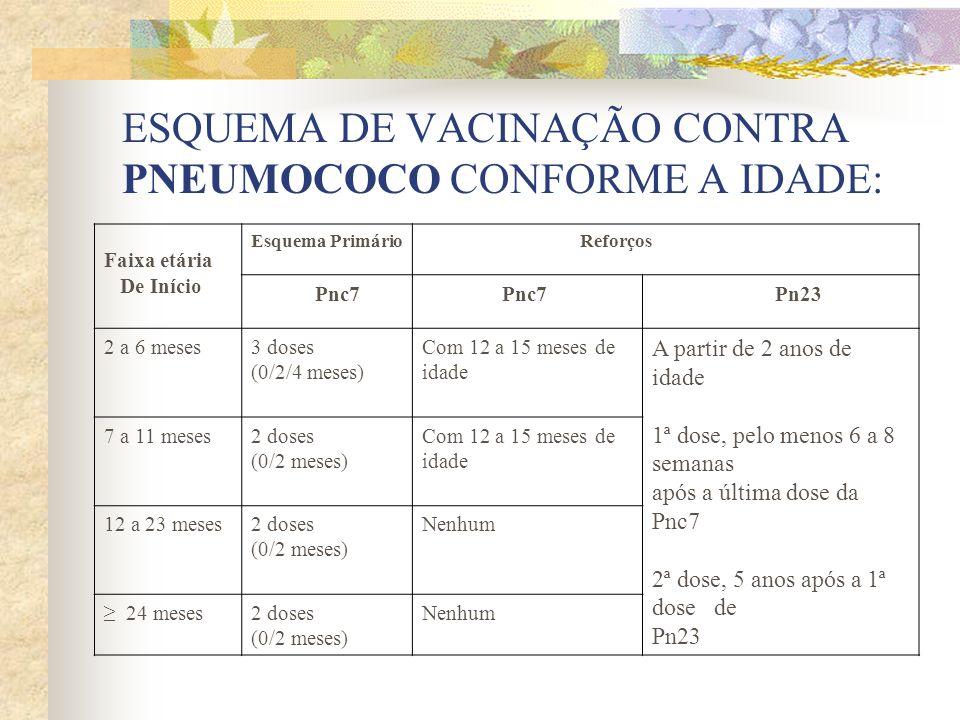 ESQUEMA DE VACINAÇÃO CONTRA PNEUMOCOCO CONFORME A IDADE: