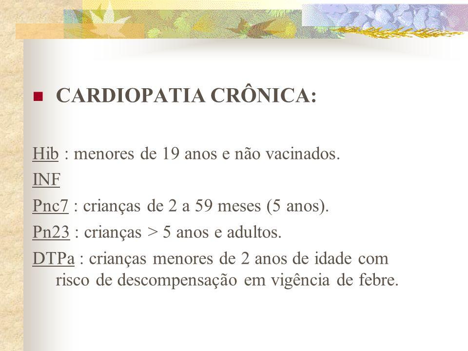 CARDIOPATIA CRÔNICA: Hib : menores de 19 anos e não vacinados. INF