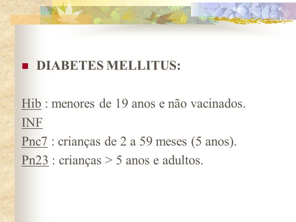 DIABETES MELLITUS: Hib : menores de 19 anos e não vacinados. INF. Pnc7 : crianças de 2 a 59 meses (5 anos).