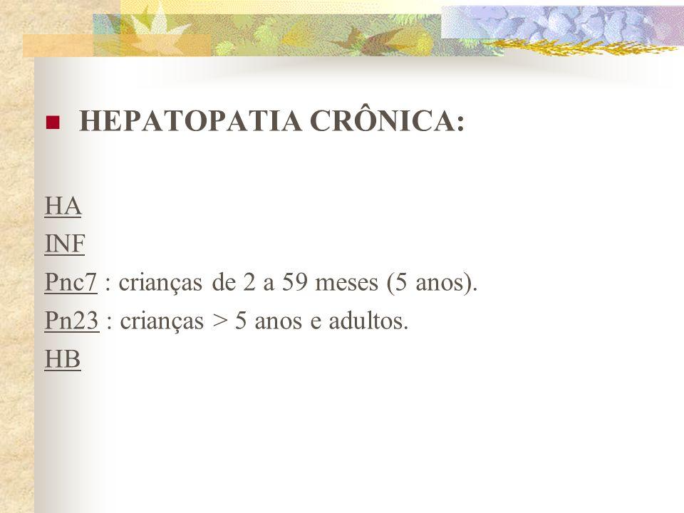 HEPATOPATIA CRÔNICA: HA INF Pnc7 : crianças de 2 a 59 meses (5 anos).