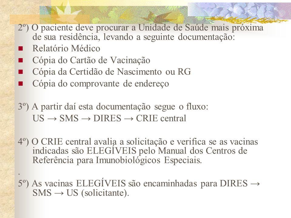 2º) O paciente deve procurar a Unidade de Saúde mais próxima de sua residência, levando a seguinte documentação: