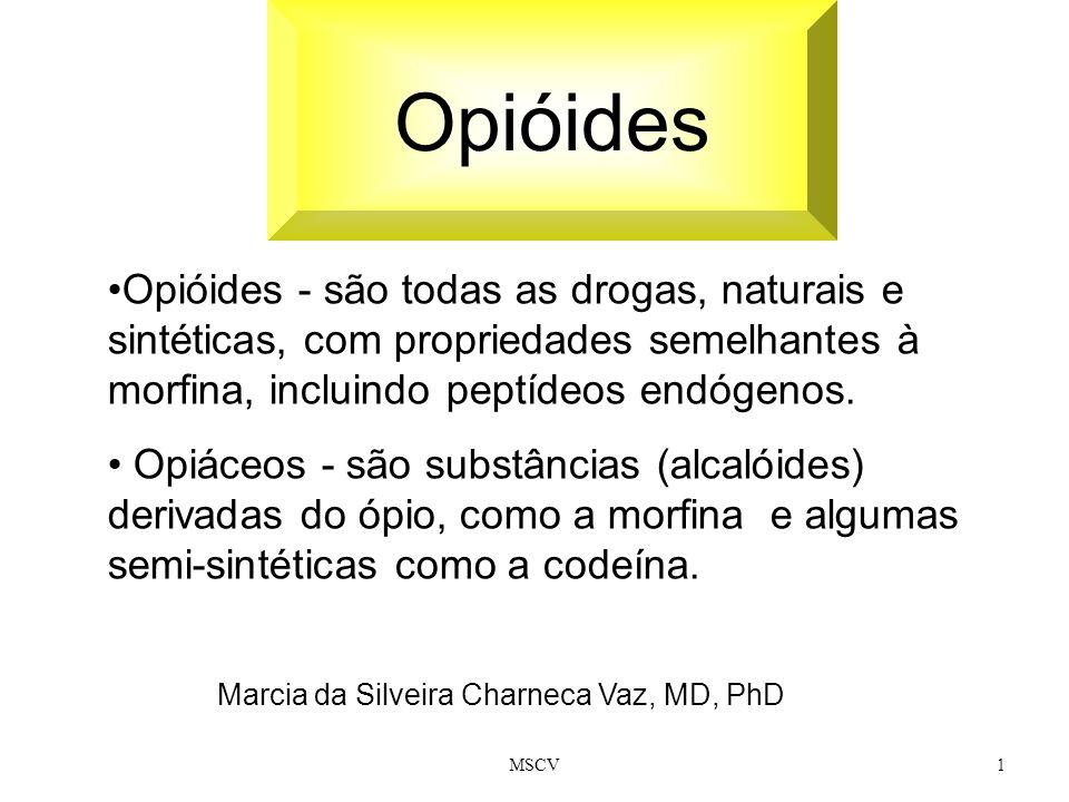 Opióides Opióides - são todas as drogas, naturais e sintéticas, com propriedades semelhantes à morfina, incluindo peptídeos endógenos.