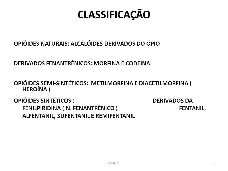 CLASSIFICAÇÃO OPIÓIDES NATURAIS: ALCALÓIDES DERIVADOS DO ÓPIO
