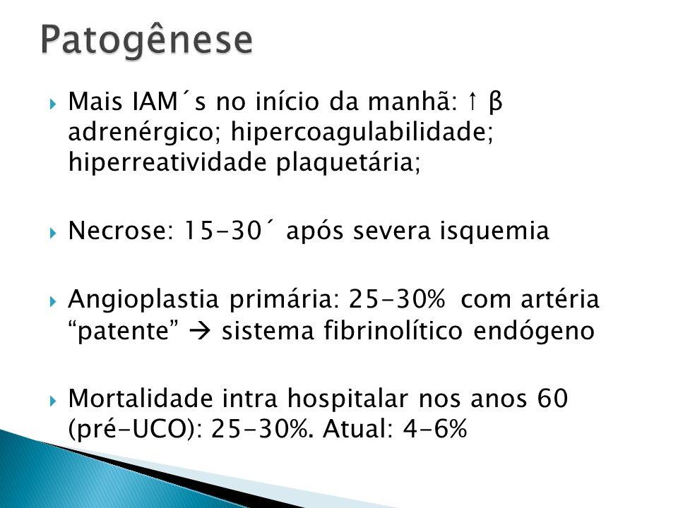 Patogênese Mais IAM´s no início da manhã: ↑ β adrenérgico; hipercoagulabilidade; hiperreatividade plaquetária;