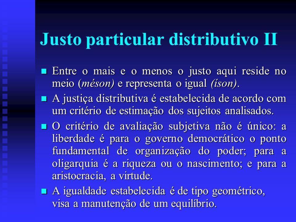 Justo particular distributivo II