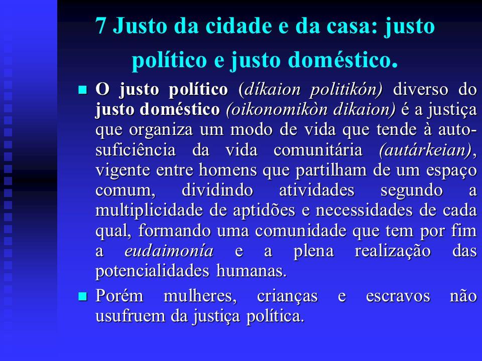 7 Justo da cidade e da casa: justo político e justo doméstico.