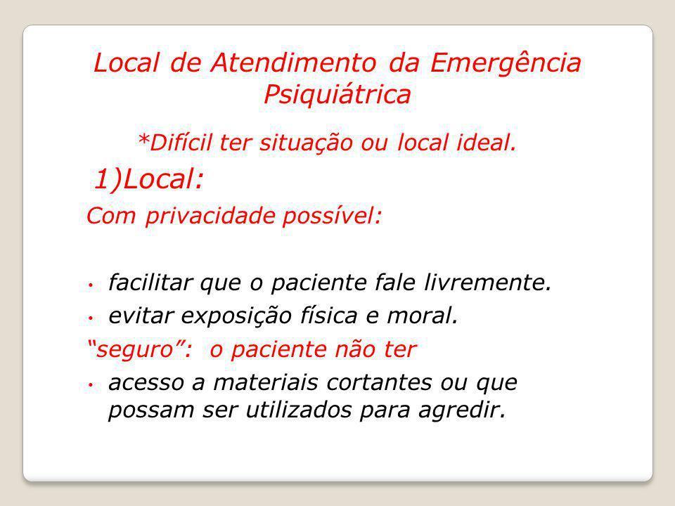 1)Local: Local de Atendimento da Emergência Psiquiátrica
