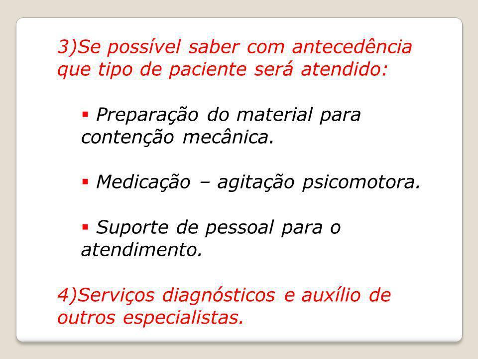 3)Se possível saber com antecedência que tipo de paciente será atendido: