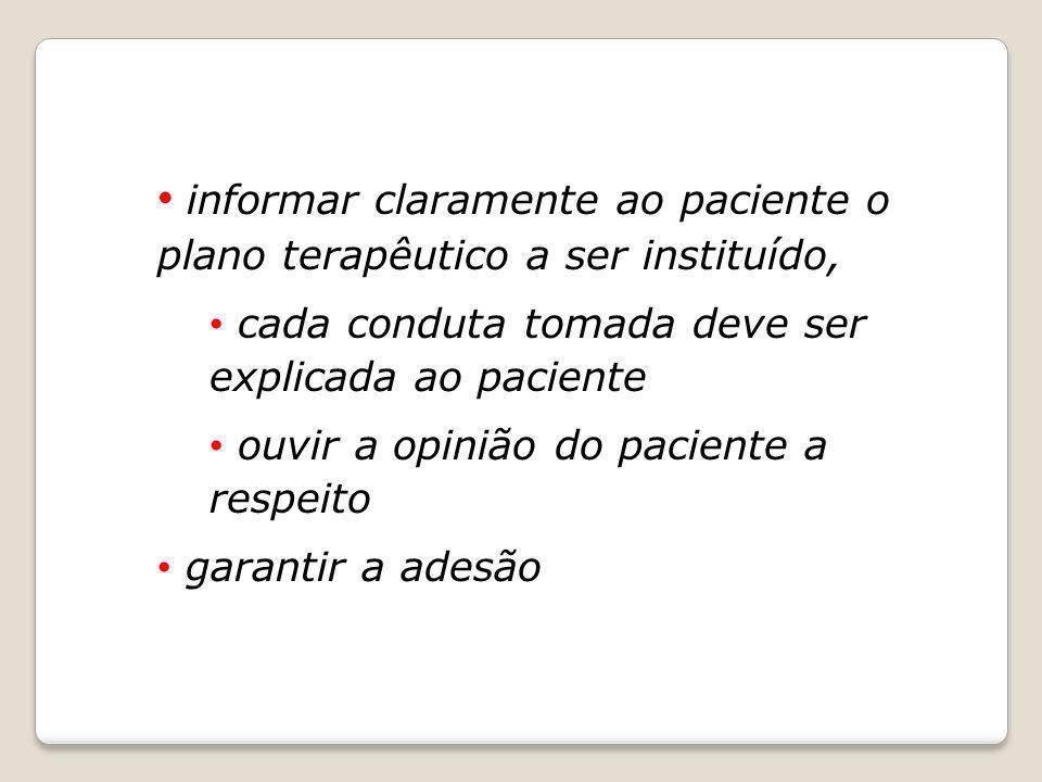 informar claramente ao paciente o plano terapêutico a ser instituído,