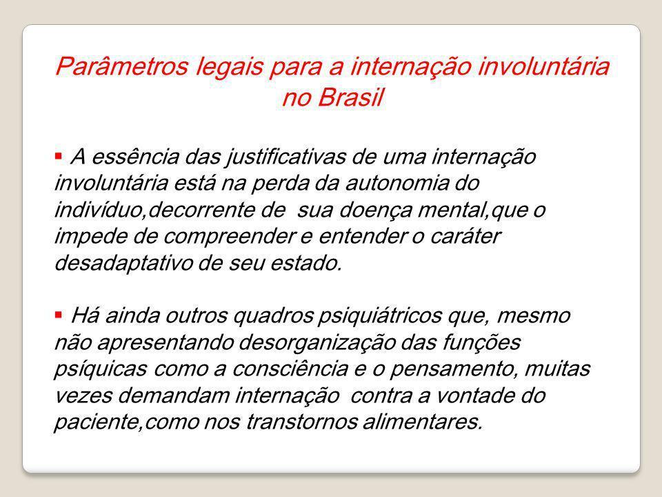 Parâmetros legais para a internação involuntária no Brasil