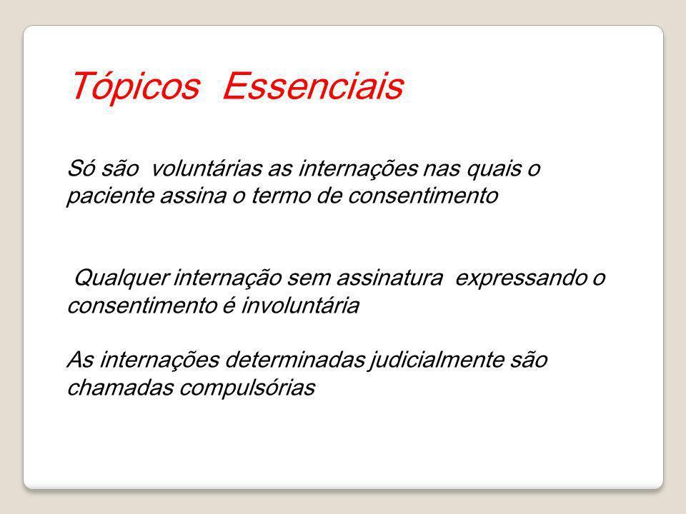 Tópicos Essenciais Só são voluntárias as internações nas quais o paciente assina o termo de consentimento.