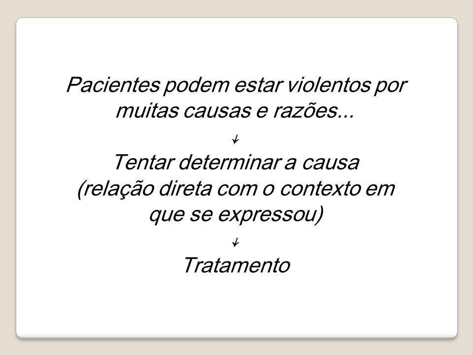 Pacientes podem estar violentos por muitas causas e razões... ↓