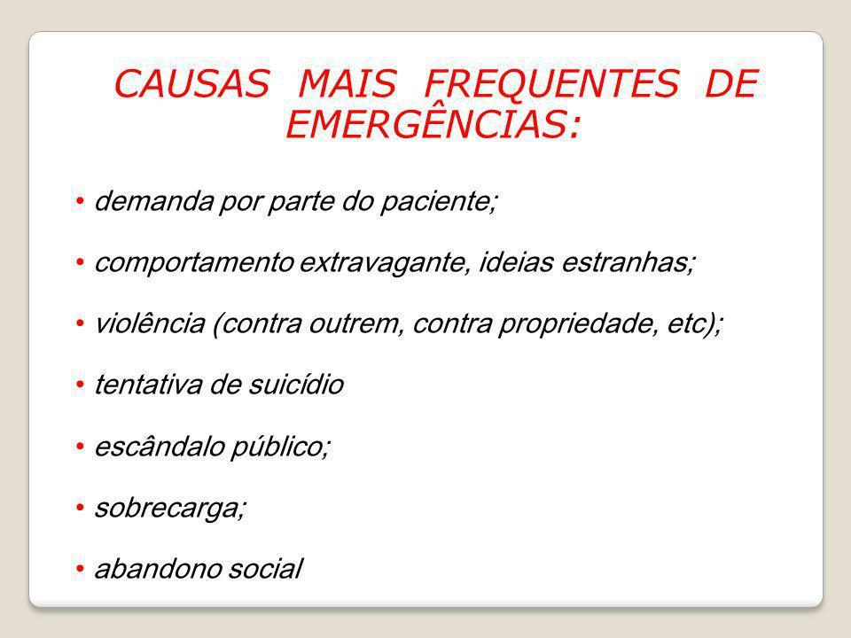 CAUSAS MAIS FREQUENTES DE EMERGÊNCIAS: