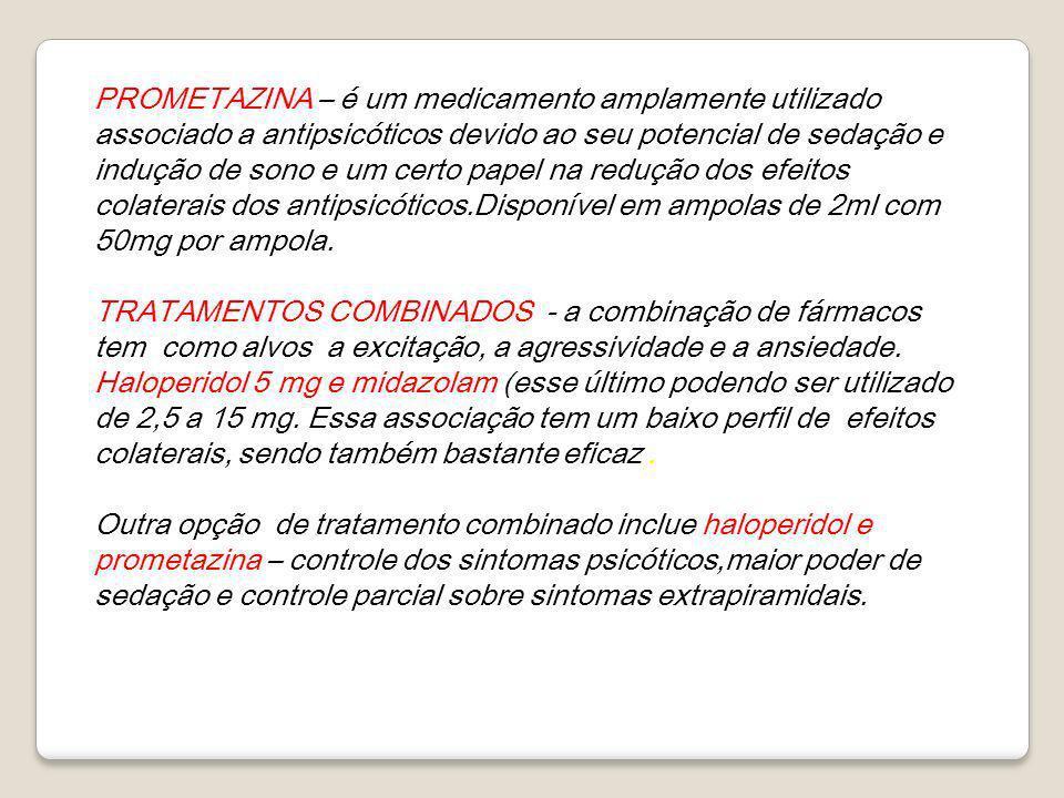 PROMETAZINA – é um medicamento amplamente utilizado associado a antipsicóticos devido ao seu potencial de sedação e indução de sono e um certo papel na redução dos efeitos colaterais dos antipsicóticos.Disponível em ampolas de 2ml com 50mg por ampola.