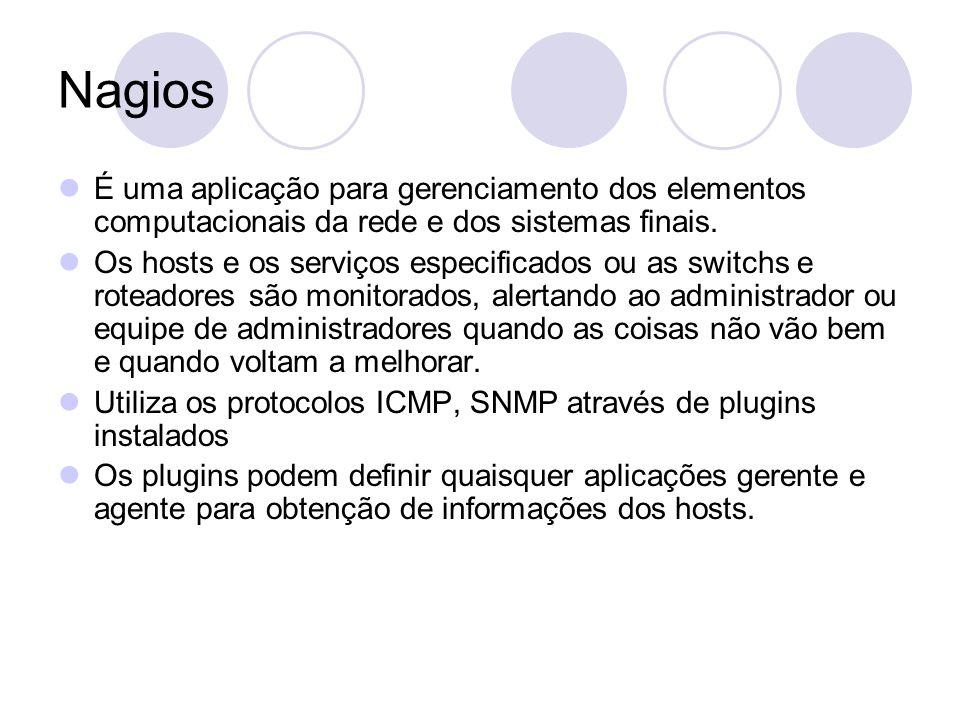 Nagios É uma aplicação para gerenciamento dos elementos computacionais da rede e dos sistemas finais.