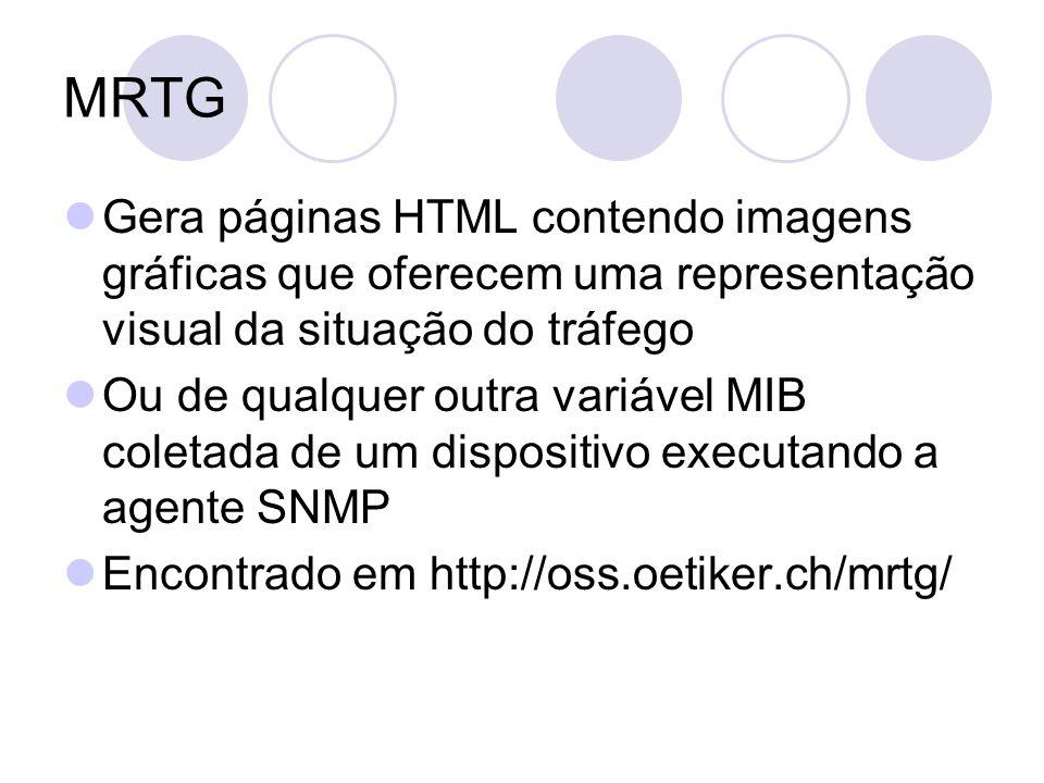 MRTG Gera páginas HTML contendo imagens gráficas que oferecem uma representação visual da situação do tráfego.