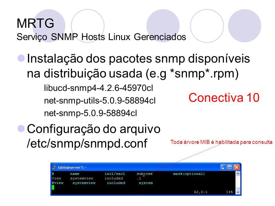 MRTG Serviço SNMP Hosts Linux Gerenciados