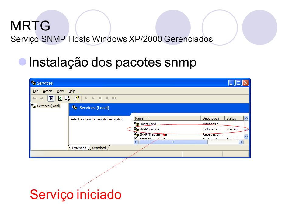 MRTG Serviço SNMP Hosts Windows XP/2000 Gerenciados