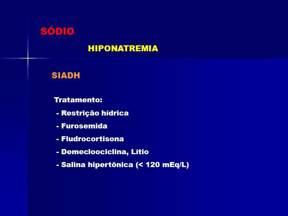 SÓDIO HIPONATREMIA SIADH Tratamento: - Restrição hídrica - Furosemida